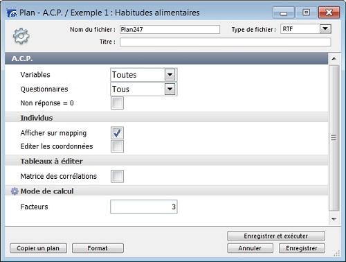 Plan d'Analyse en Composantes Principales (ACP)
