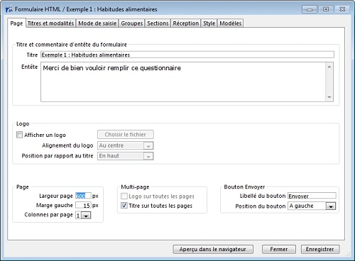 Formulaire HTML pour questionnaire en ligne